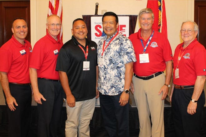 "The Society of American Military Engineers National and Guam Post Leadership members, Pete Diaz and Noel Enriquez, recently attended the Post Leaders workshop in Bonita Springs, Florida Aug. 19-21. The SAME Guam Post has been in existence since the early 1970s and currently has over 250 members. SAME Guam Post awards yearly scholarships to students who plan to become Engineers and Architects. Pictured from left: Col. Sal Nodjomian, Brig. Gen. Joe Schroedel, Pete Diaz, Captain Noel Enriquez, Col. Marvin Fisher, and Lt. Col. Wendell ""Buddy"" Barnes."
