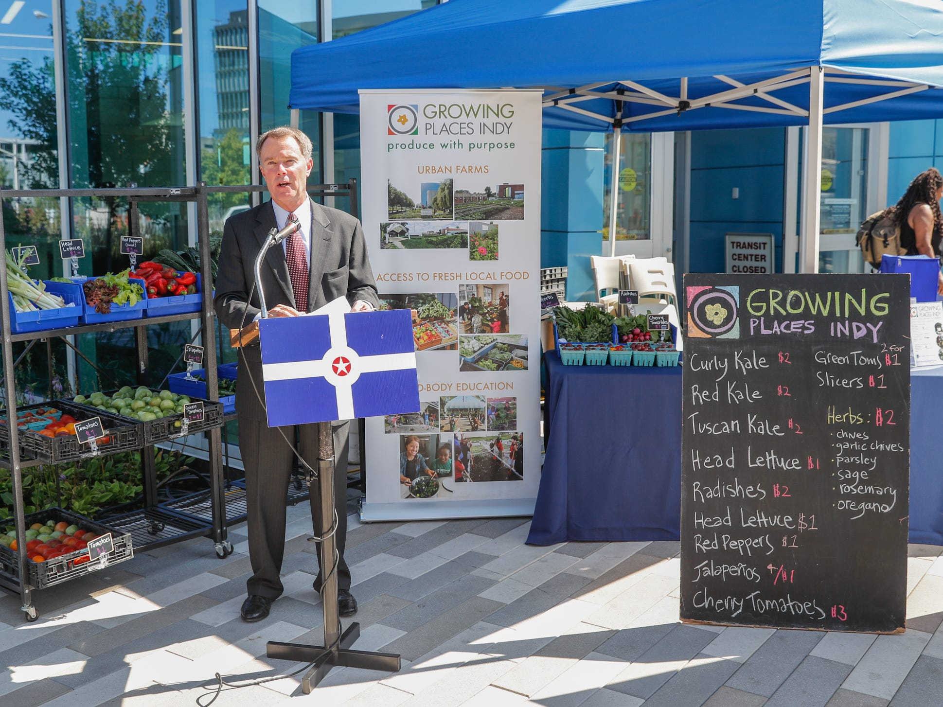 """Indianapolis Mayor Joe Hogsett, in partnership with IndyGo and Growing Places Indy, launches the """"Food in Transit"""" program at the Julia M. Carson Transit Center on Friday, Sept. 14, 2018. Visitors to the Transit Center can purchase produce every Friday from 3 p.m. to 6 p.m. through October 26."""