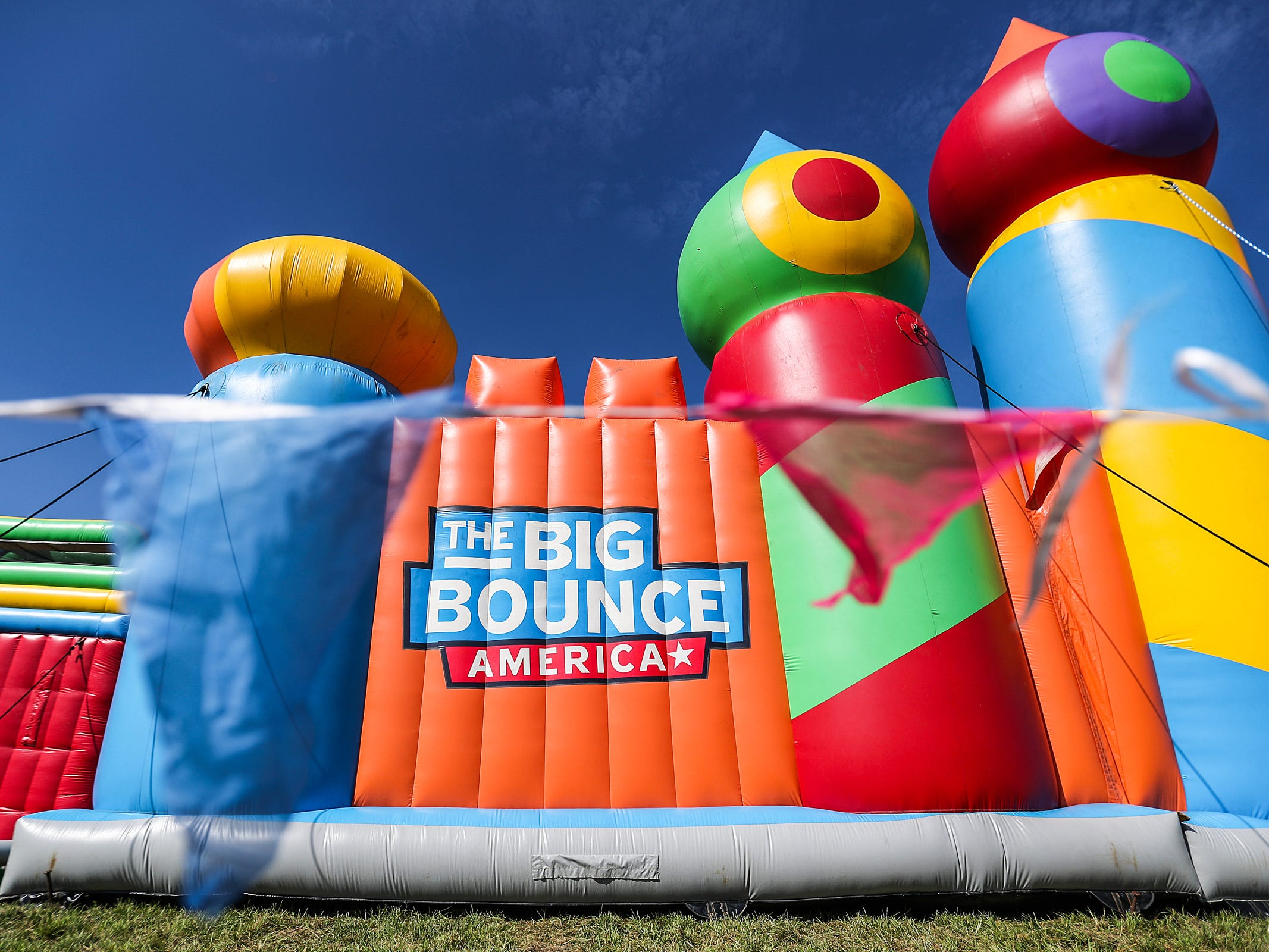 The Big Bounce America inflatable attraction at Waterman's Family Farm in Indianapolis seen Friday, Sept. 14, 2018. The world's largest bounce house covers 10,000 square feet and will be in Indy though September 16.