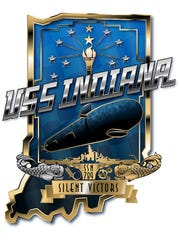 The official crest of the Virginia-class fast attack submarine USS Indiana