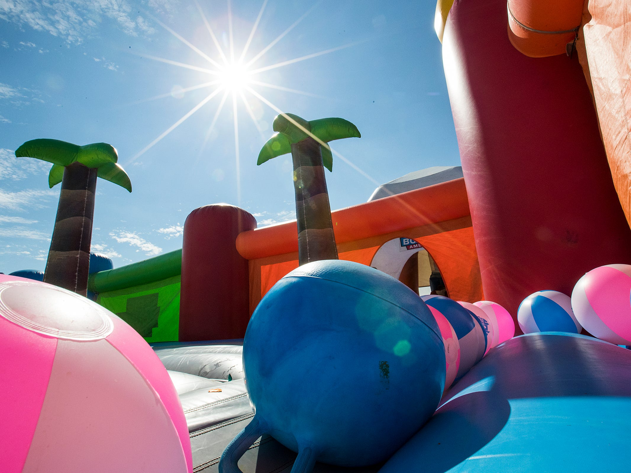 The Big Bounce America inflatable attraction at Waterman's Family Farm in Indianapolis is seen Friday, Sept. 14, 2018. The world's largest bounce house covers 10,000 square feet and will be in Indy though September 16.