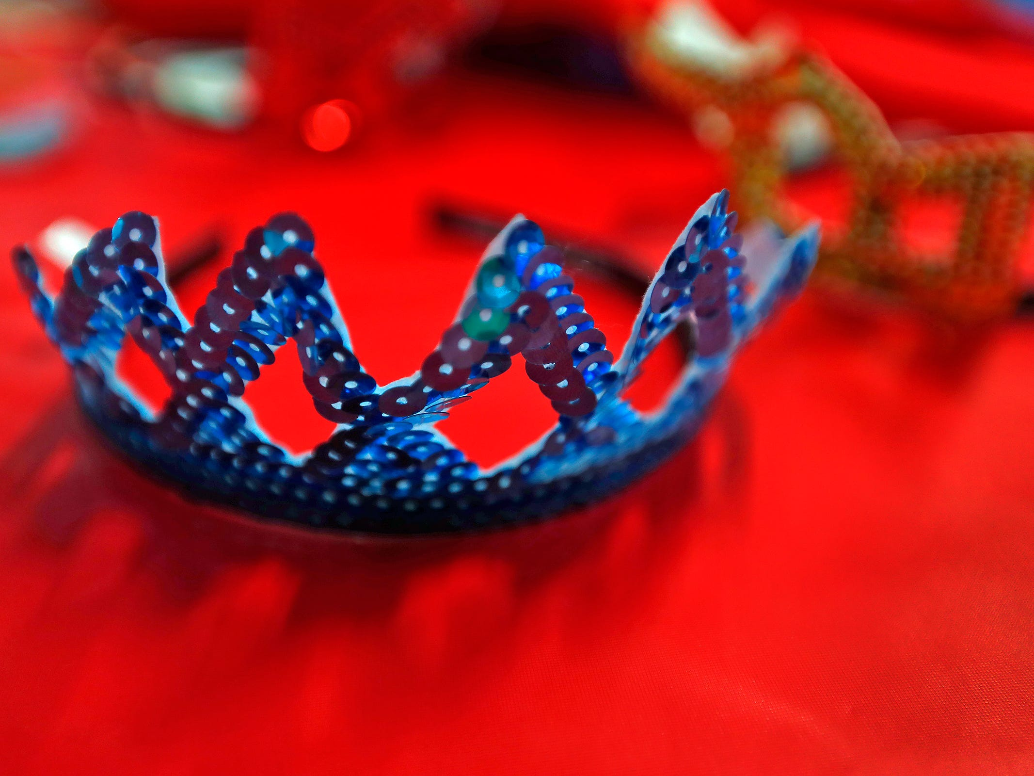 "Crowns are ready to wear at Riley Children's Health, Friday, Sept. 13, 2018.  IU students with ""Royal Encounters"" entertained patients and their families at Riley.  Princesses and a Prince, with the volunteer group, brought smiles to the kids with their visit."