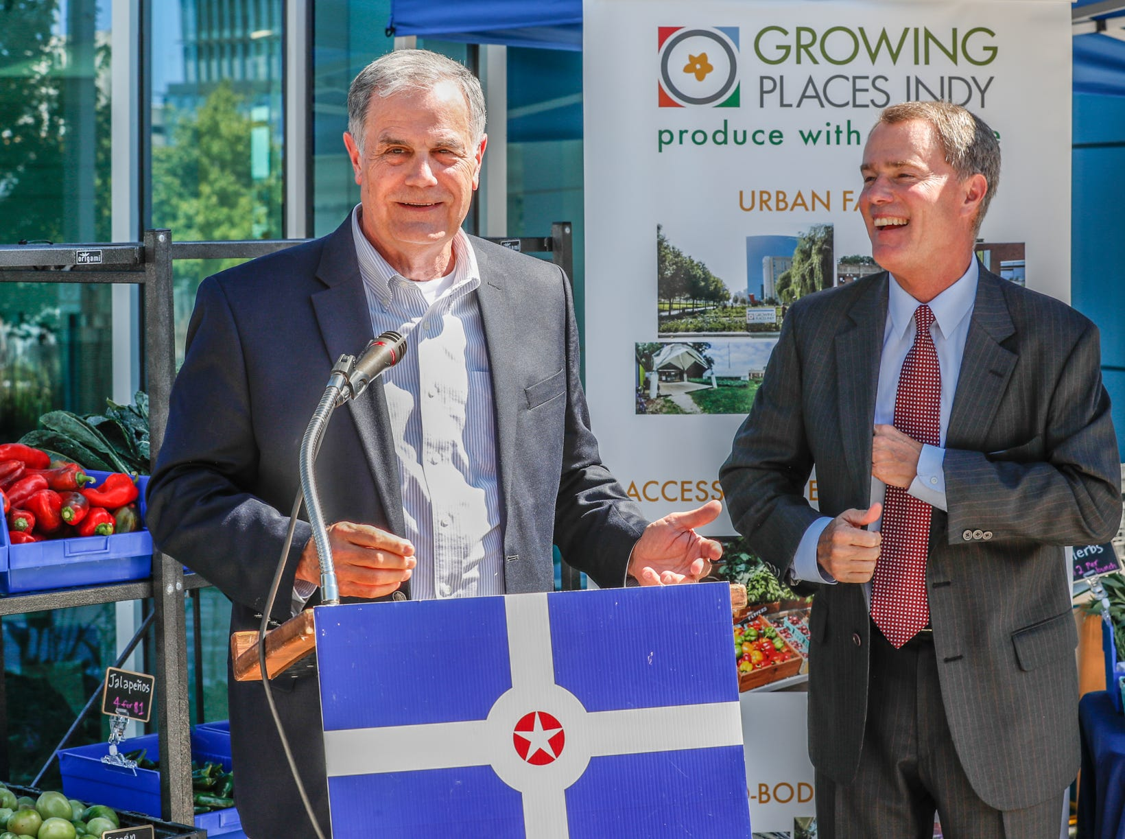 IndyGo President and CEO, Mike Terry and Indianapolis Mayor Joe Hogsett, give remarks in partnership withGrowing Places Indy during the launch of the ÒFood in TransitÓ program at the Julia M. Carson Transit Center on Friday, Sept. 14, 2018. Visitors to the Transit Center can purchase produce every Friday from 3 p.m. to 6 p.m. through October 26.