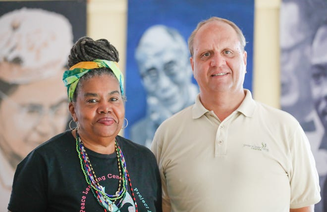 Naeemah Jackson, director of family programs at Peace Learning Center, left, and Tim Nation, executive director and co-founder of Peace Learning Center, shown here on Thursday, Sept. 13, 2018. Jackson and Nation spoke with the Indy Star about the use of the N word in casual conversation after a string of high profile firings and rebukes over it's use by community members.