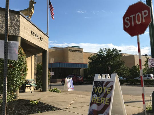 Polling site in front of the Elmira Elks Club on Thursday.