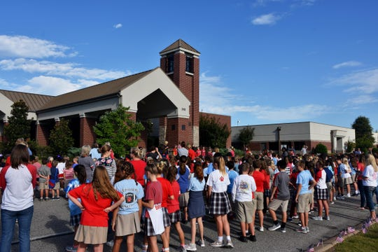 University School of Jackson Lower School students participate in The National Anthem Project on Friday, Sept. 14, 2018, in Jackson.