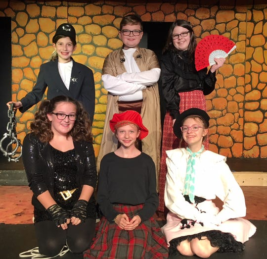 A colorful cast of characters adds to the action. Shown in back row are Millie Braude, Conard Belitz and Bray Krumenacker; front, Pressley Rule, Amelia White and Miley Jenkins.