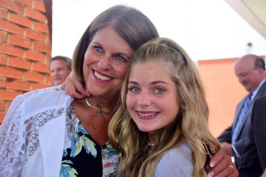 Terry Hill with granddaughter Savannah Cody, 12, at the Hardin Valley Middle School ribbon cutting ceremony Tuesday, July 10.