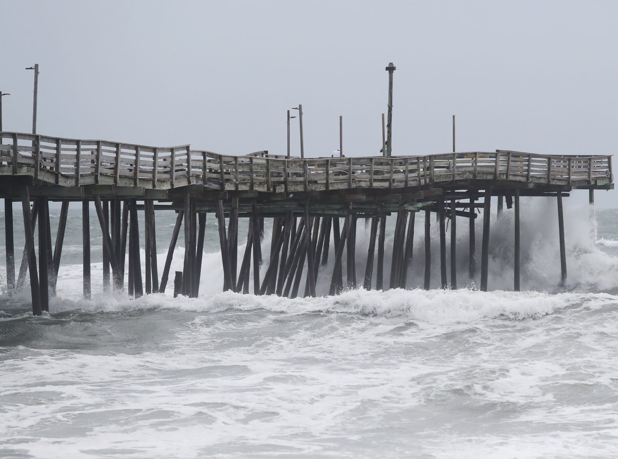 September 14, 2018; Kill Devil Hills, NC, USA; The waves hit the Avalon Fishing Pier in Kill Devil Hills, North Carolina on Friday, September 14, 2018.