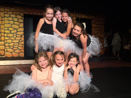 Seven of the 101 puppies, all good friends. Back row: Lena Kennedy, Lily Segars, Grace Bell and Macon Sloan; front row, Leeland Robbins, Vivi Bullard and McKenna DeLong. Sept. 13, 2018.