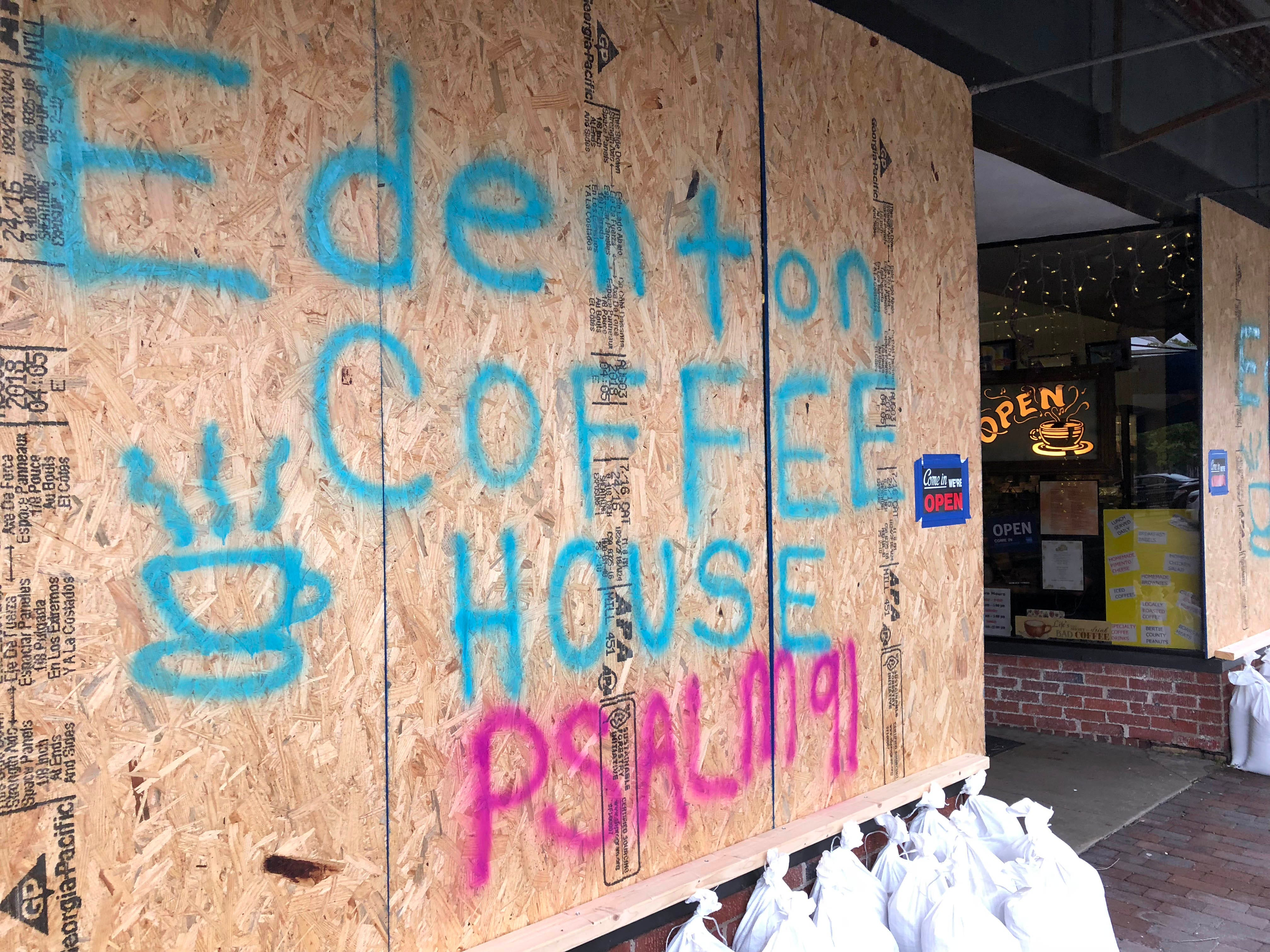 September 14, 2018; Edenton, NC, USA; This is the Edenton Coffee House in Edenton, N.C. The Employees slept in the shop overnight to avoid damage from Hurricane Florence, Sept 14, 2018.