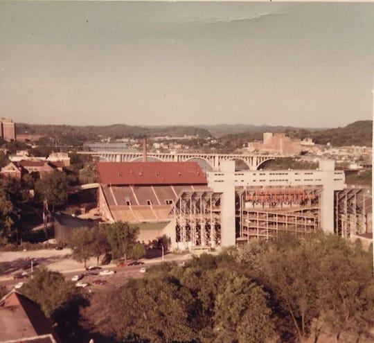 Neyland Stadium, May 1968, prior to the season opener. This photo shows the new east side deck being completed.