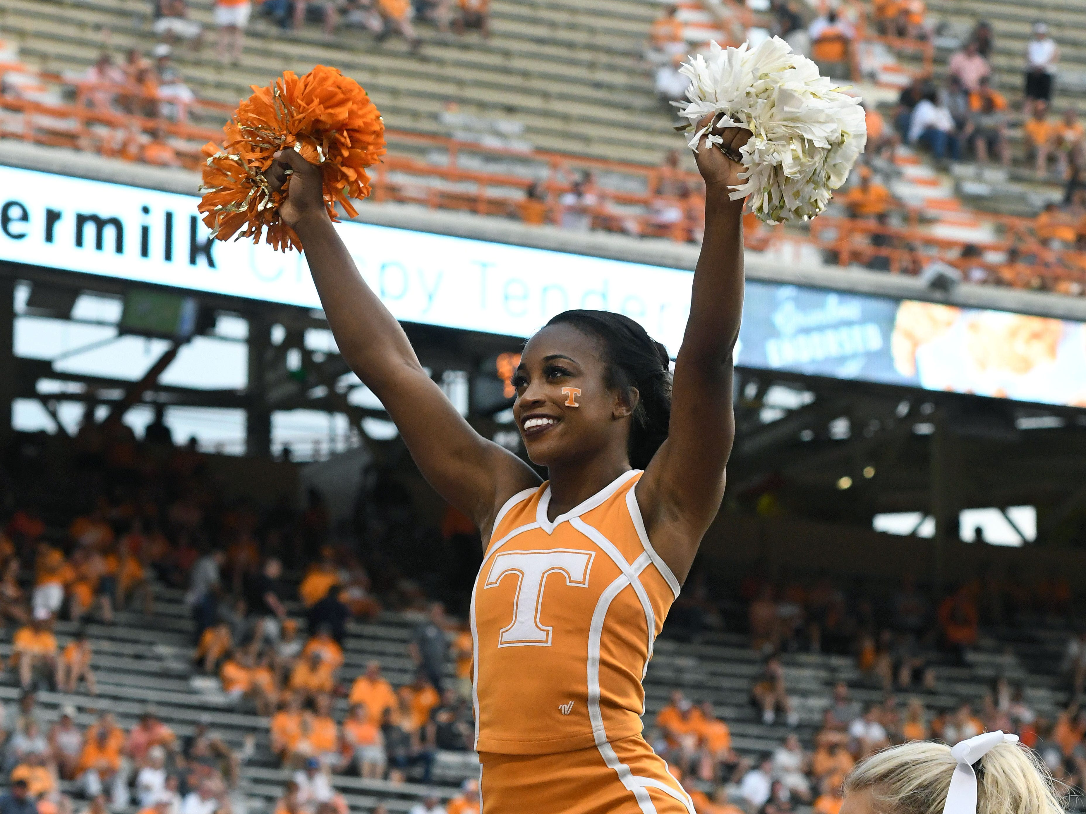 Tennessee cheerleaders Eleni Brinias, left, Chelsea Jackson, center, Keelie Woody, right, during the East Tennessee State Saturday, September 8, 2018 at Neyland Stadium in Knoxville, Tenn.