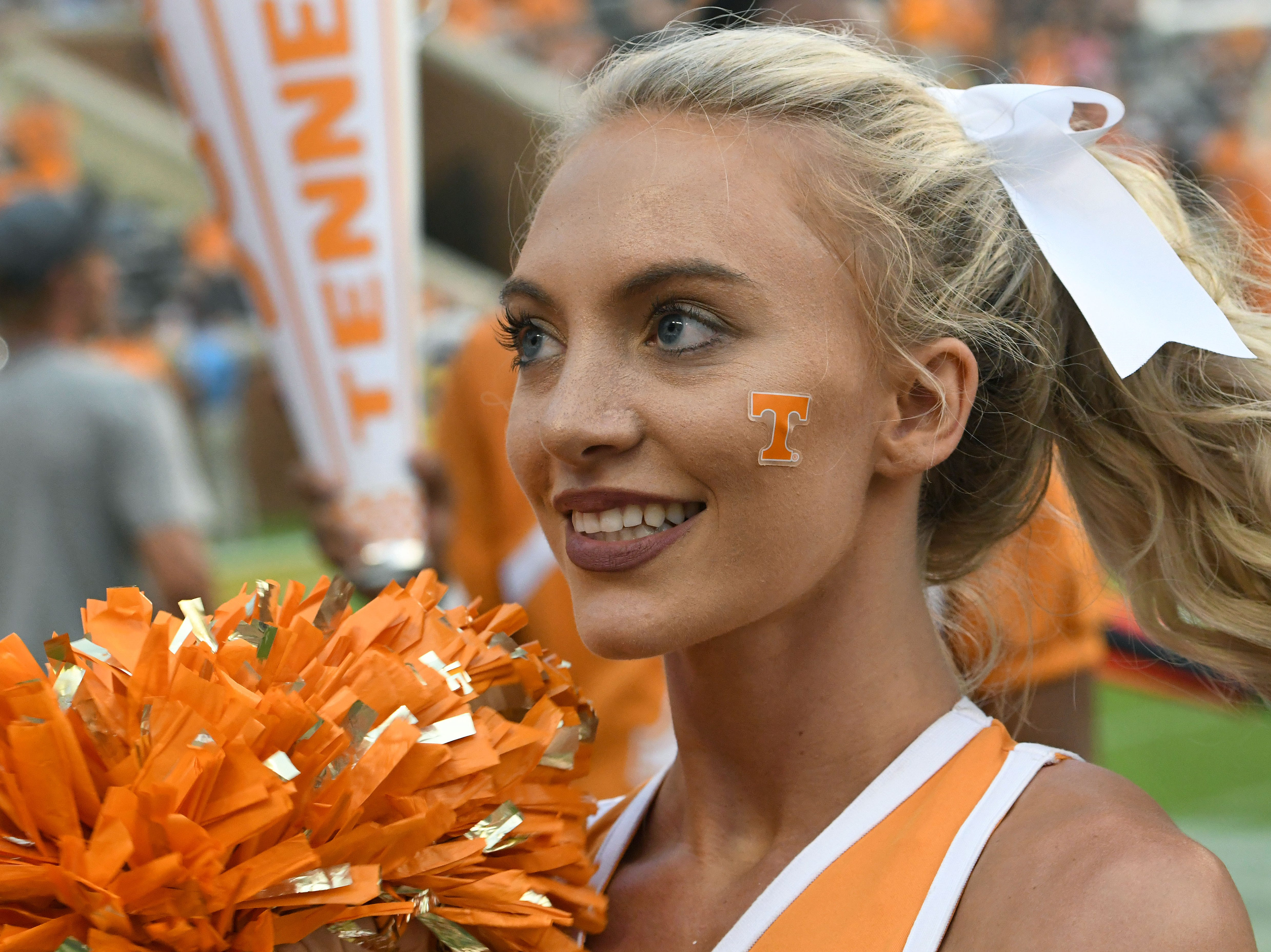 Tennessee cheerleader Keelie Woody during the East Tennessee State Saturday, September 8, 2018 at Neyland Stadium in Knoxville, Tenn.