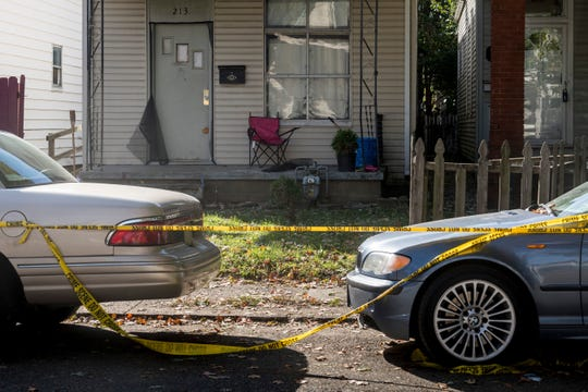 Crime scene tape blocks off the scene of a double homicide that took place Monday night. According to a release from the Vanderburgh County Coroner's office, Dewone Broomfield, 29, and Mary Patrice Chalonda Woodruff, 28, were the victims in the slaying.  SAM OWENS/ COURIER & PRESS Crime scene tape blocks off the scene of a double homicide that took place Monday night, Oct. 30 at 213 E. Maryland Street in Evansville. According to a release from the Vanderburgh County Coroner's office, Dewone Broomfield, 29, and Mary Patrice Chalonda Woodruff, 28, were the victims in the slaying that the Evansville Police department is currently investigating.