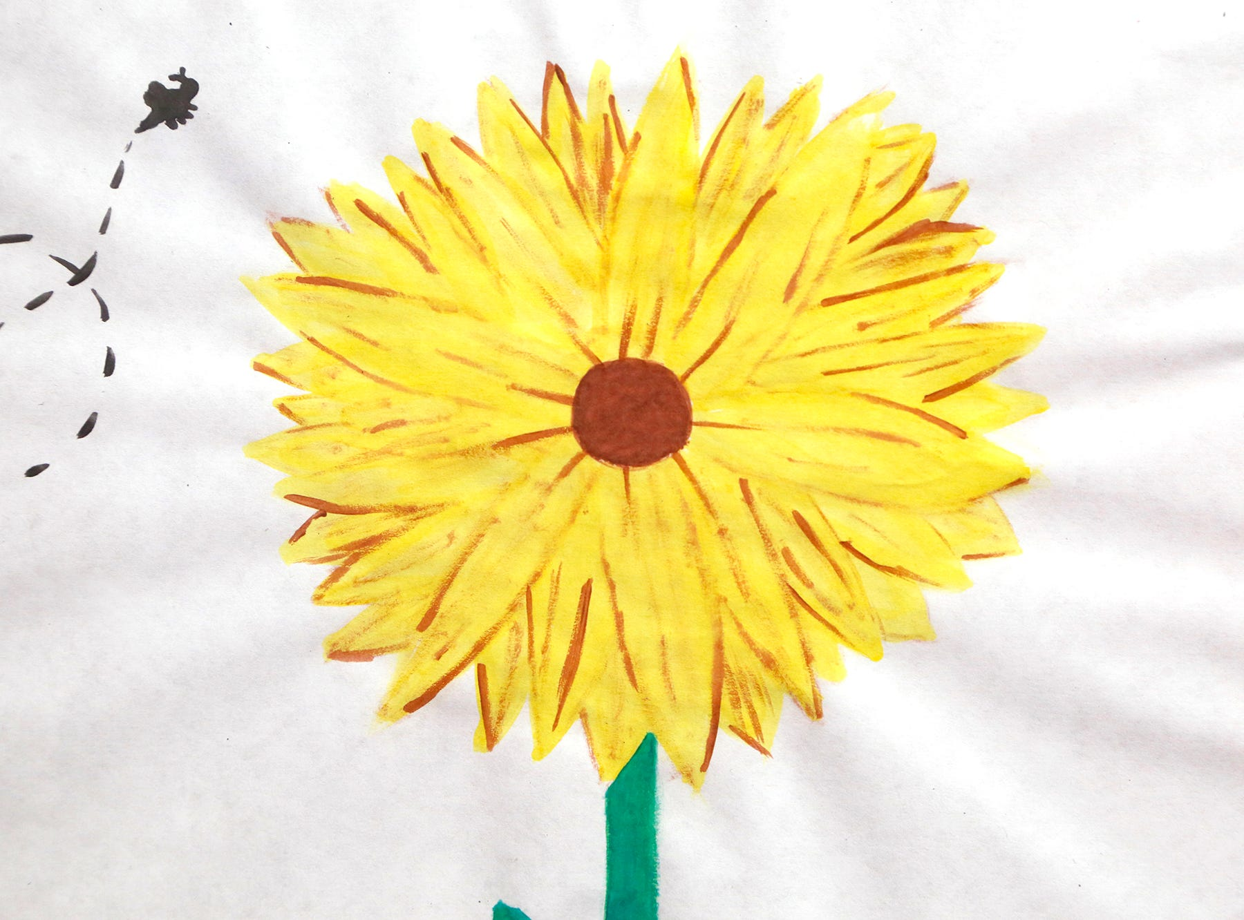 """A piece titled """"Sunflower"""" by Chelsea Jasper that is part of an art exhibit to benefit Special Parents Special Kids Thursday, September 13, 2018, at Lala Gallery & Studio, 511 Ferry Street in downtown Lafayette."""