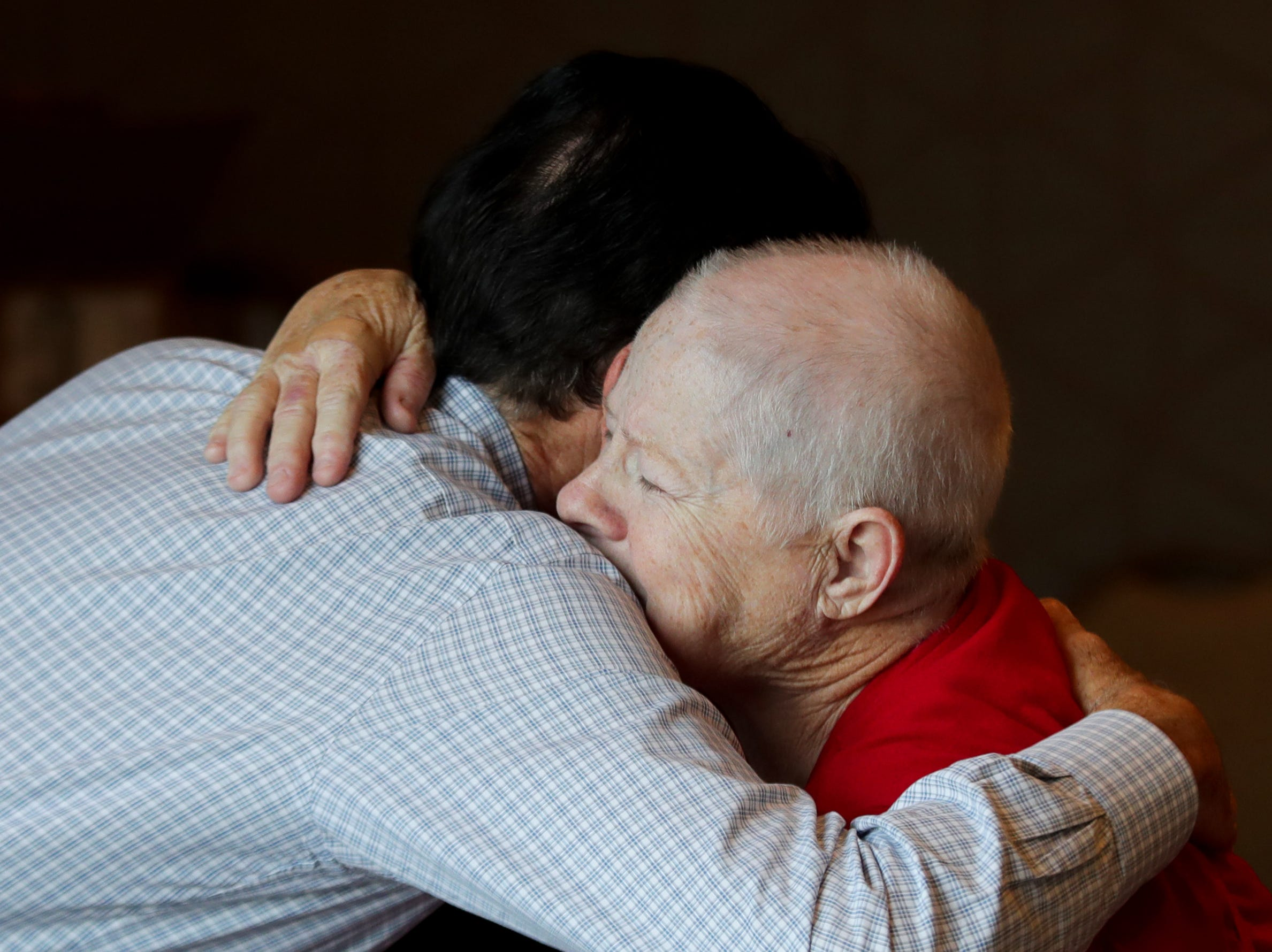 Pat Dixon got emotional as Rick Pitino stood up to give her a hug during his book signing at the Omni Hotel on Friday afternoon in Louisville, Kentucky.Sept. 14, 2018