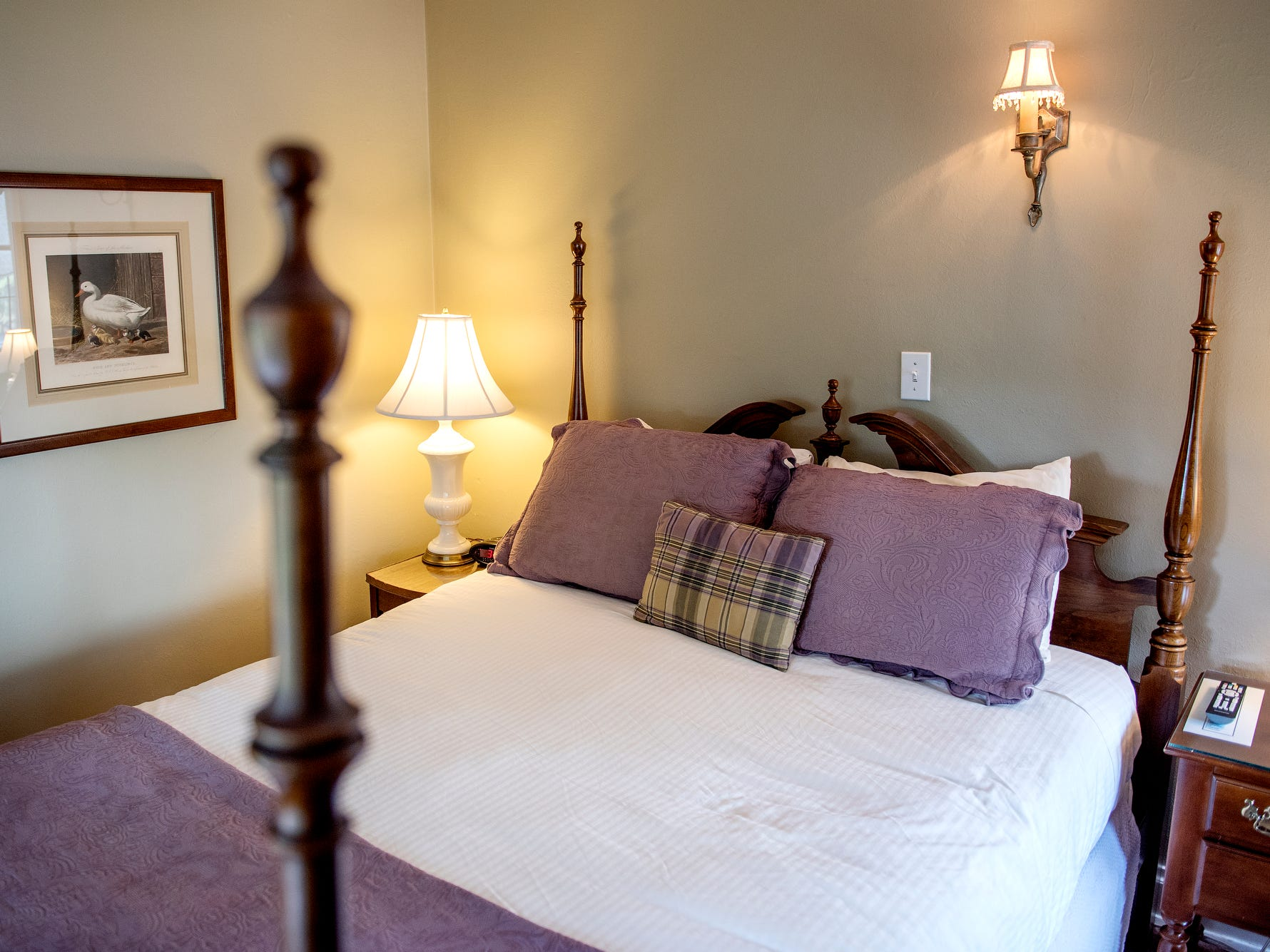 The bedroom inside the Bath suite at the English Inn on Tuesday, Aug. 28, 2018, in Eaton Rapids. The 17-room mansion was once the home of Oldsmobile president Irving Reuter and his wife, Janet.