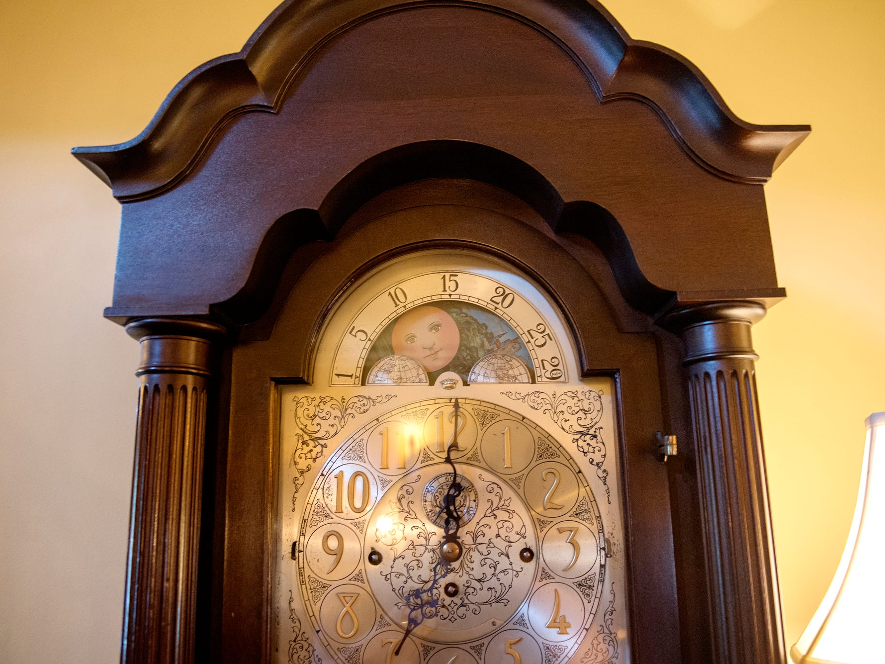 An antique grandfather clock is displayed in the lobby of the English Inn on Tuesday, Aug. 28, 2018, in Eaton Rapids. The 17-room mansion was once the home of Oldsmobile president Irving Reuter and his wife, Janet.