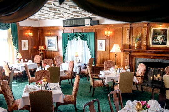 A view of the Devonshire Room dining area at the English Inn on Tuesday, Aug. 28, 2018, in Eaton Rapids. The 17-room mansion was once the home of Oldsmobile president Irving Reuter and his wife, Janet.