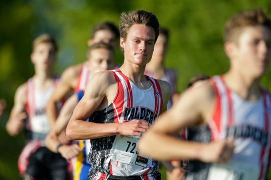 Valders Jacob Pattee runs with teammates in the front of the pack during the Valders cross county invitational at Valders Memorial Park Thursday, September 13, 2018, in Valders, Wis. Josh Clark/USA TODAY NETWORK-Wisconsin