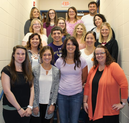 Two Rivers welcomes new teachers in 2018: Front row, from left: Bridget Polit, Spanish teacher, L.B. Clarke & Two Rivers High School; Sara Huven, first-grade teacher, Koenig Elementary; Kara Erlandson, seventh-grade teacher, L.B. Clarke; and Jennifer Wagner, school counselor, L.B. Clarke. Second row, from left: Katie Berry, special education teacher, L.B. Clarke; Spencer Feest, eighth-grade teacher, L.B. Clarke; Ashley Hentges, special education teacher, Koenig Elementary; and Felicia Bunnell, first-grade teacher, Magee Elementary. Third row, from left: Angela Jacks, eighth-grade math teacher, L.B. Clarke; Brittany Kuehn, kindergarten teacher, Magee Elementary; Anna Burtschi, second-grade teacher, Magee Elementary; and Angela Blashka, special education, Magee Elementary. Fourth row, from left: Rachel Schroeder, special education teacher, L.B. Clarke; Jenn Juley, seventh-grade teacher, L.B. Clarke; Jennifer Kieselhorst, 4K teacher, Koenig Elementary; and Tony Simpson, sixth-grade math teacher, L.B. Clarke.