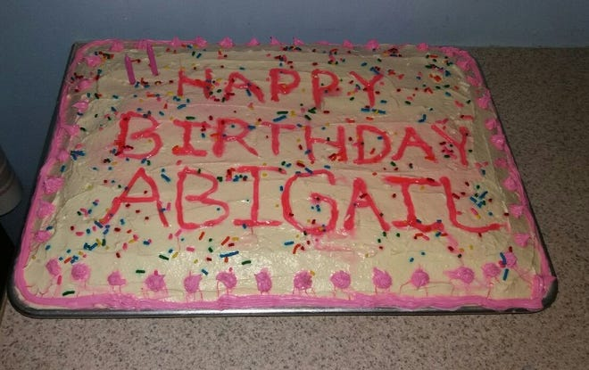 The Eichers celebrated Abigail's second birthday with a cake her mother, Elizabeth, decorated.