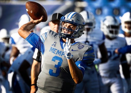 University of Memphis quarterback Brady White warms up before taking on Georgia State University in Memphis, Tenn., Friday, September 14, 2018.