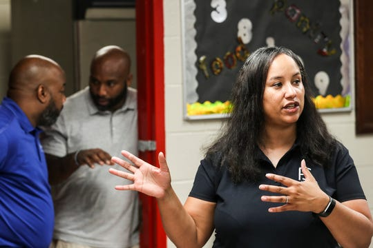 September 14 2018 - Dr. Tarol Clements, Project STAND manager, talks about the new food pantry at George Washington Carver College and Career Academy during its grand opening. The pantry is the first school food pantry that the Mid-South Food Bank has opened in Shelby County. The pantry, called the Healthy Food Pantry, not only will supply canned foods, but will distribute fresh produce and include a garden for growing vegetables.