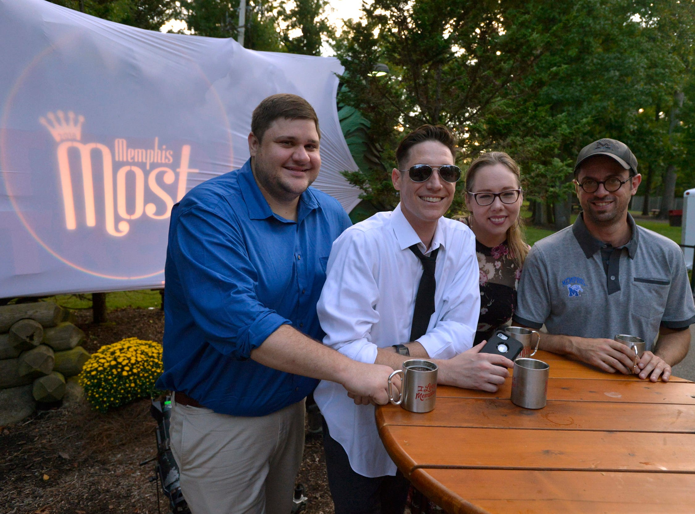 September 13, 2018 - Derick Maxwell, (from left) Latty, Rebecca Bishop, and Jason Stewart, representing Flinn Broadcasting, pose for a photo during the 2018 Memphis Most awards party at Teton Trek in the Memphis Zoo. (Brandon Dill for The Commercial Appeal)