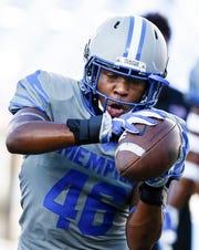 University of Memphis defender  Kendell Johnson warms up before taking on Georgia State University in Memphis, Tenn., Friday, September 14, 2018.
