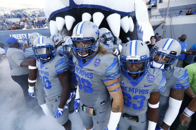 Memphis football players get set to take the field for Friday's home game against Georgia State on Sept. 14, 2018.