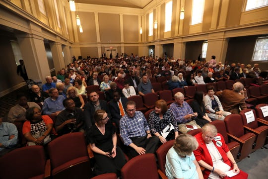 People settle in at McNeill Hall to listen to former Tennessee Gov. Phil Bredesen on the campus of Rhodes College on Thursday, Sept. 13, 2018.
