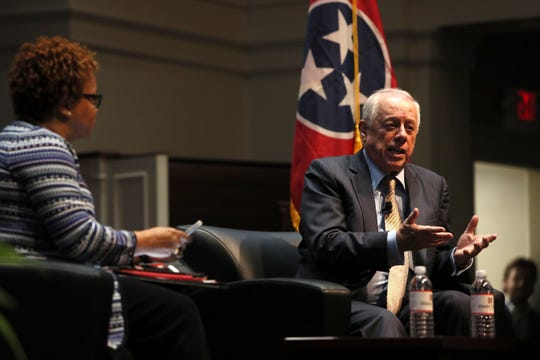 Former Tennessee Gov. Phil Bredesen speaks at Rhodes College's McNeill Hall on Thursday, Sept. 13, 2018.