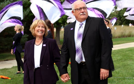 UW-Whitewater Chancellor Beverly Kopper is shown with her husband, Pete Hill, on the UW-Whitewater campus in 2015.