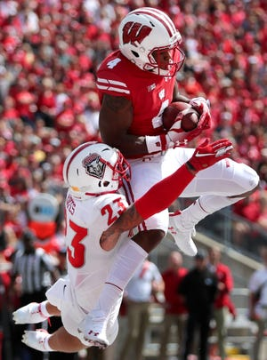 Junior receiver A.J. Taylor leads the Badgers in recptions with 10 and receiving yards with 219 yards through two games.