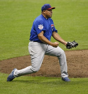 Chicago Cubs Carlos Zambrano reacts after the final out of his no hitter in the bottom of the ninth inning against the Houston Astros at Miller Park in Milwaukee, Wisconsin on Sunday, September 14, 2008.