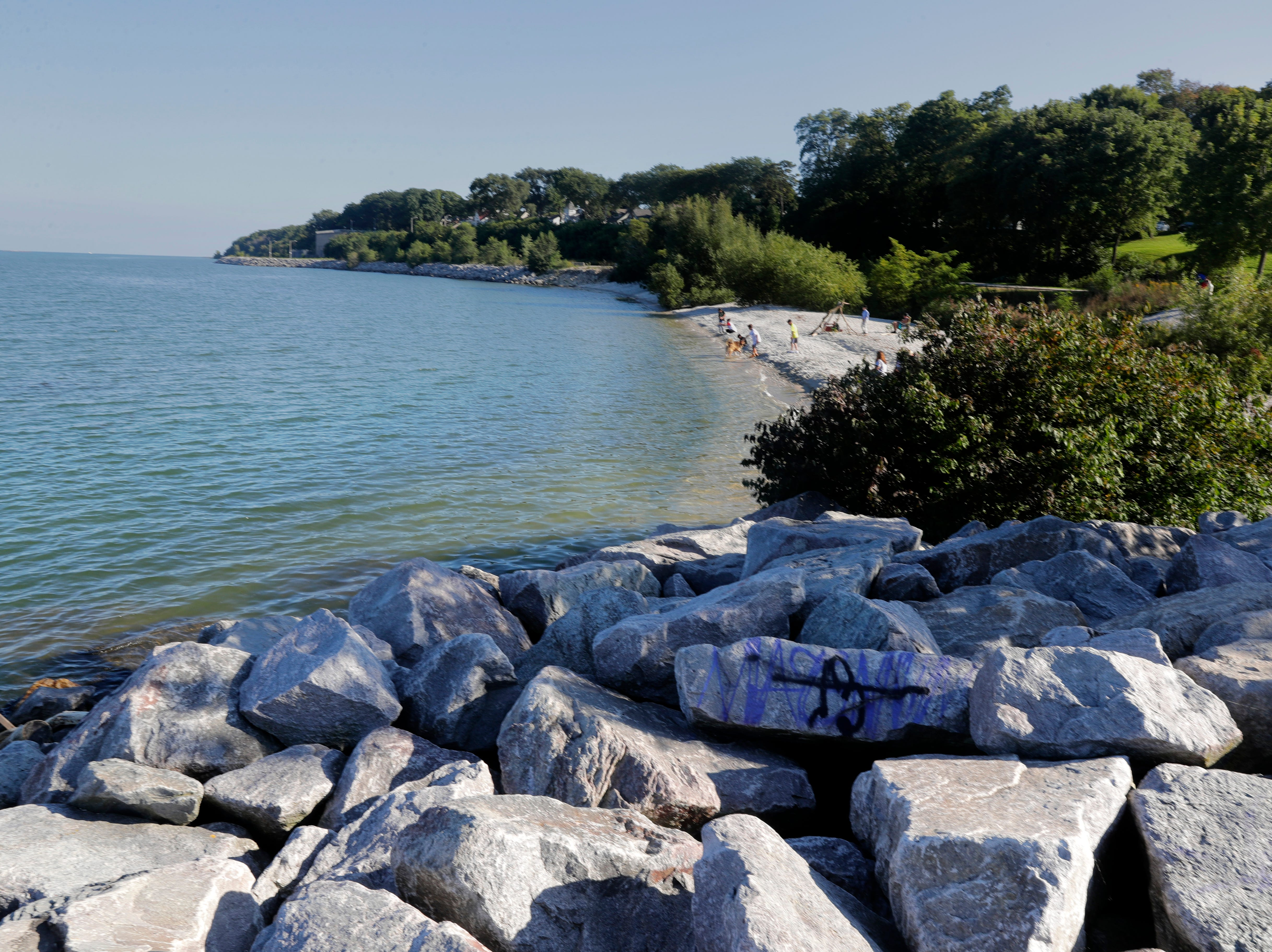 The South Shore Park beach could be relocated to the shoreline south of this old jetty near the pavilion.