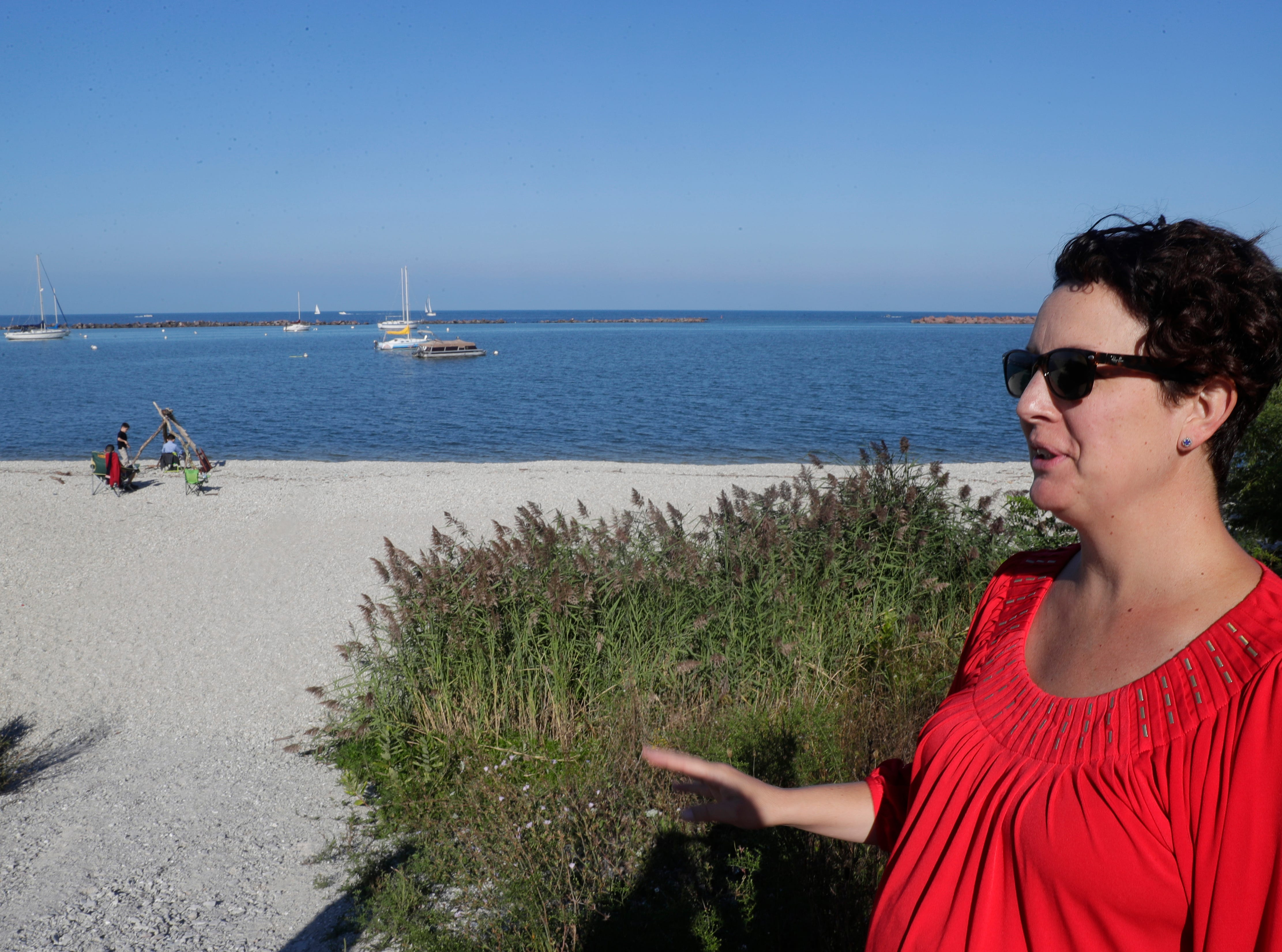 Marina Dimitrijevic, County Board supervisor, looks over one of four proposed new beach locations while gathering input from constituents at South  Shore Park.