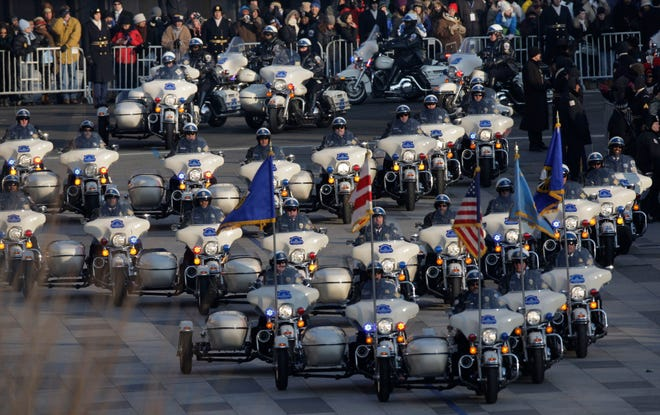 Lines of  motorcycles lead President Barack Obama's inaugural parade Jan. 20, 2009, on Pennsylvania Ave. in Washington.