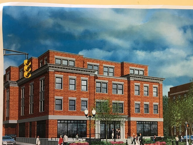 Architectural rendering of restaurant topped by apartments approved to replace bankrupt Calaloo Cafe on South Street, Morristown.