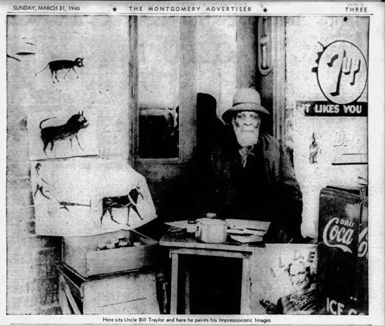 Bill Traylor, seen here in a Montgomery Advertiser Sunday magazine photo from  March 31,1941.