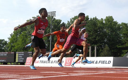 Anthony Schwartz defeats Eric Harrison to win the 100m, 10.23 to 10.26 during the USA Junior Championships at Indiana University on June 15, 2018, in Bloomington, Ind.