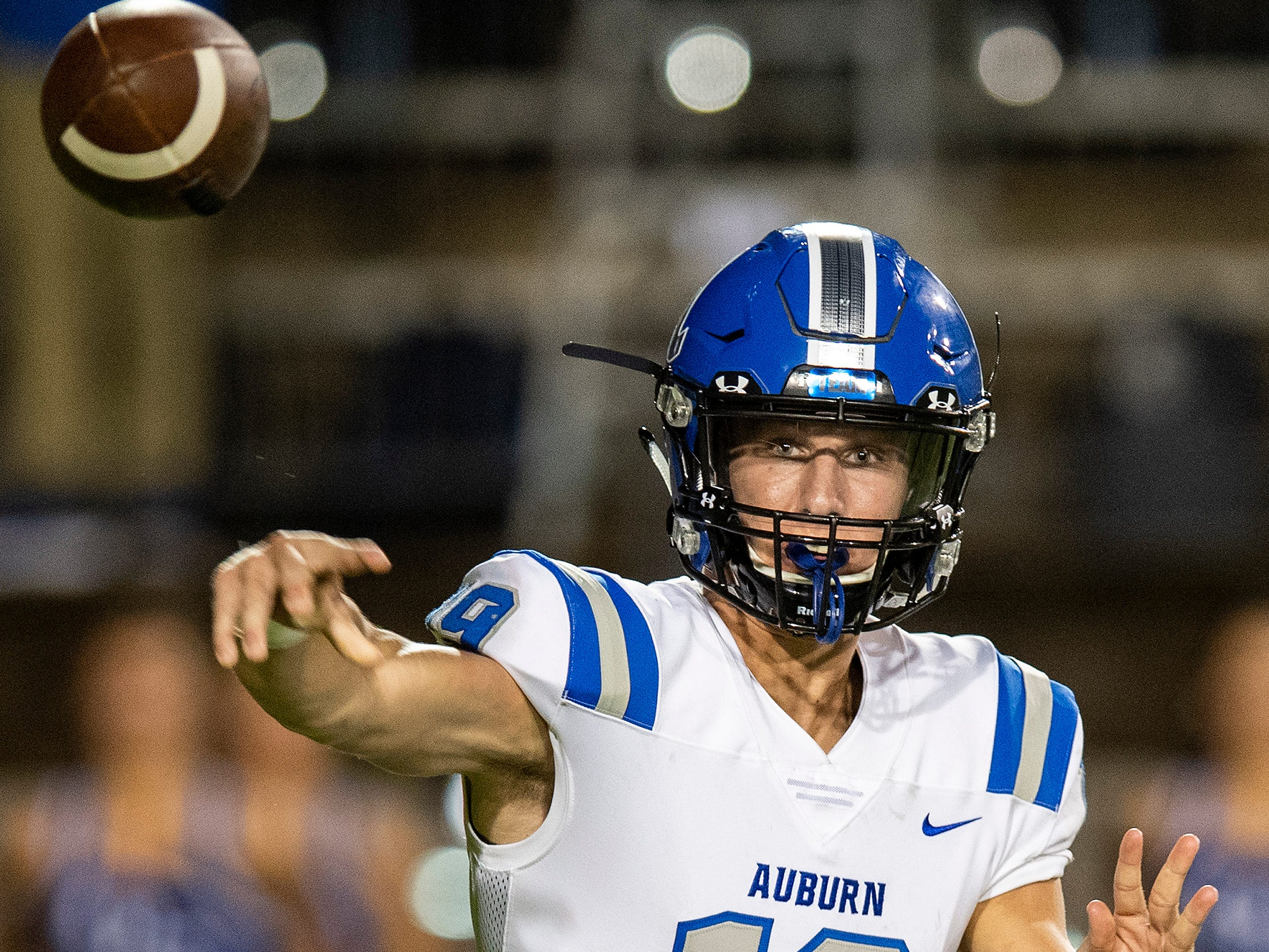 Auburn quarterback Griffin Speaks (19) throws against Lee in first half action at Cramton Bowl in Montgomery, Ala., on Thursday September 13, 2018.