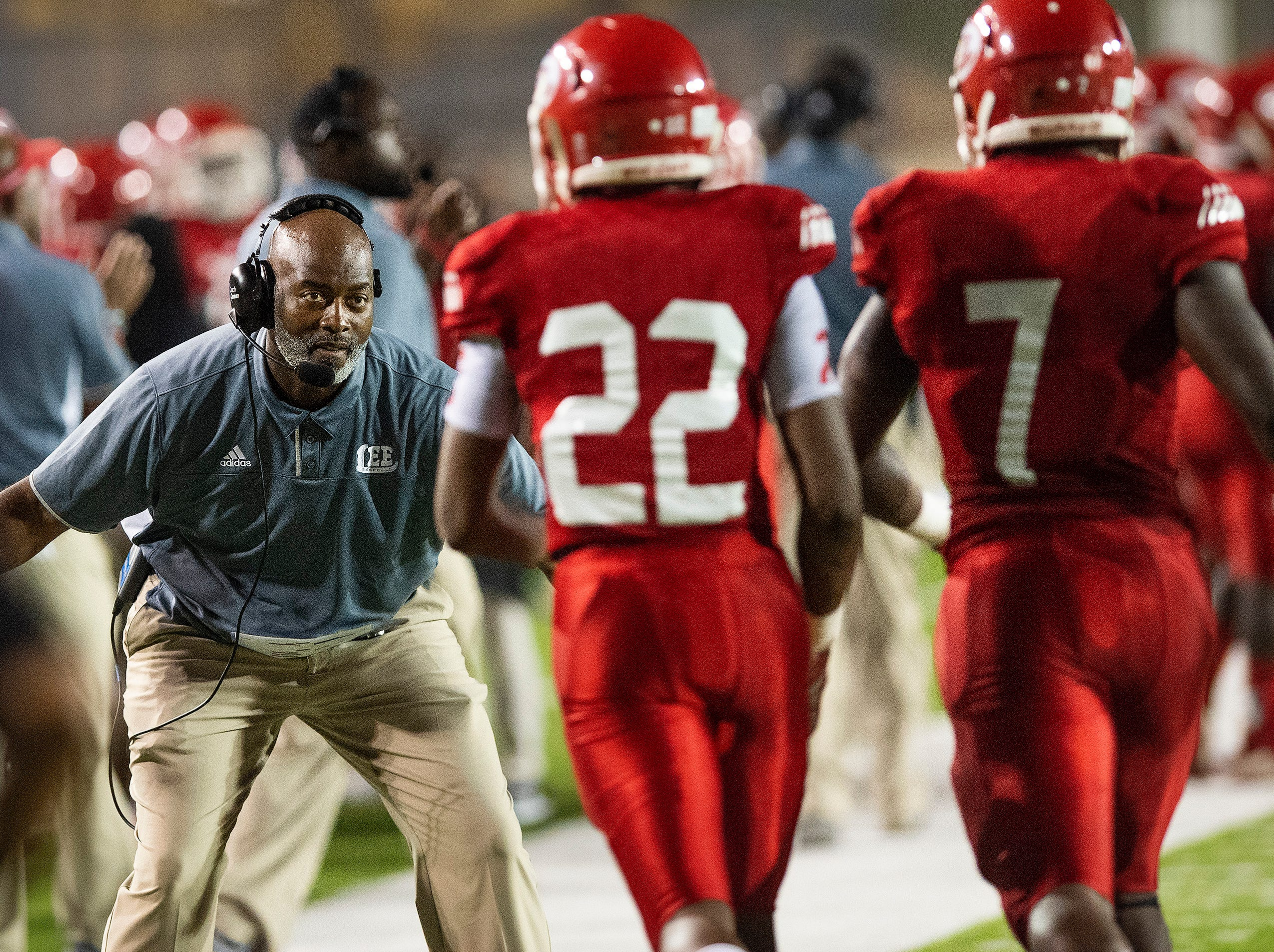 Lee coach Tyrone Rogers coaches against Auburn in first half action at Cramton Bowl in Montgomery, Ala., on Thursday September 13, 2018.