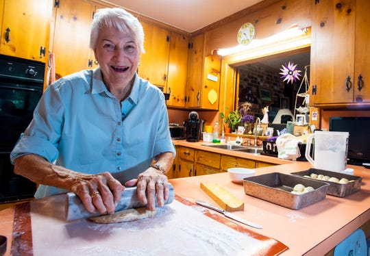 Dot Hawthorne makes bread at her home near Montgomery, Ala., on Friday September 14, 2018.