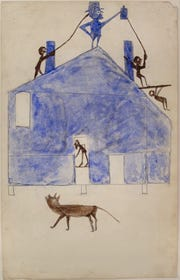 Bill Traylor, House, ca. 1940-1942, watercolor and graphite on cardboard. Montgomery Museum of Fine Arts, Montgomery, Alabama, Gift of Charles and Eugenia Shannon