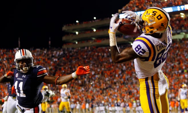 LSU wide receiver D.J. Chark (82) catches a pass for a touchdown against Auburn, but the play was ruled a no play as time ran out on Saturday, Sept. 24, 2016, in Auburn, Ala. Auburn won 18-13