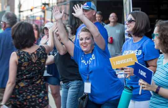 Crowds gather downtown for the 2018 United Way campaign kickoff event.
