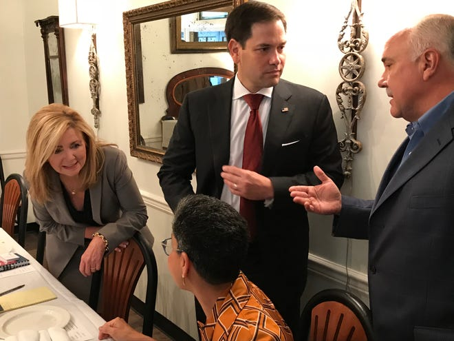 During a visit to Brentwood on Friday, U.S. Sen. Marco Rubio, R-Florida, campaigned for U.S. Rep. Marsha Blackburn, left, who is the Republican nominee for U.S. Senate in Tennessee.